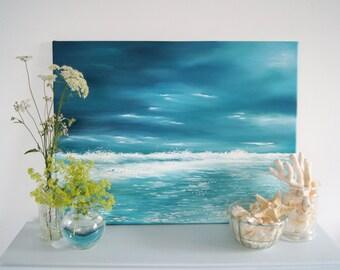 Seascape, Ocean, Original, Stormy seas, oil on canvas