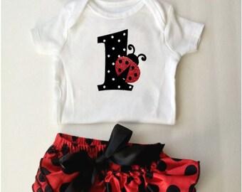 Ladybug birthday, ladybug onesie, ladybug bloomer, baby bloomers, birthday outfit, first birthday, baby girl bodysuit, first birthday, baby
