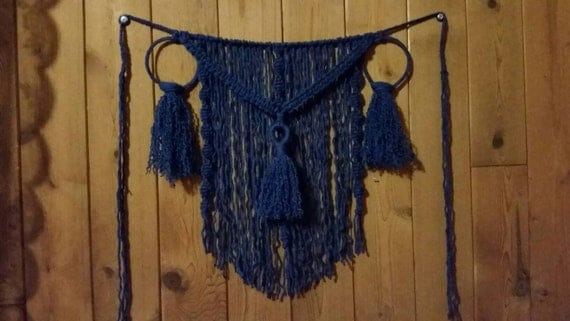 Small navy blue macrame wall or window hanging