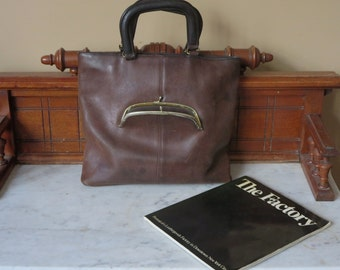 Coach Skinny Tote- Rare NYC Mocha Leather Bag- Manufactured At 'The Factory' In New York City U.S.A.- A Piece Of HIstory