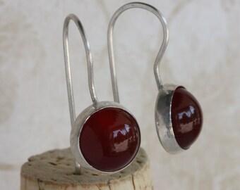 Carnelian Earrings, Sterling Silver Carnelian Earrings, Gemstone Earrings, Carnelian Jewelry, Orange Earrings, Everyday Earrings