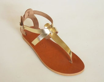 Greek Leather Sandals (39 - Gold)