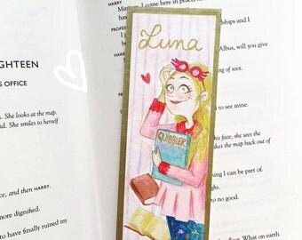 Luna's bookmark - Original watercolor illustration - gold frame