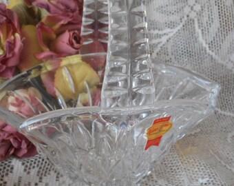 Vintage Lead Crystal Basket Shaped Bowl