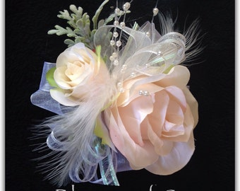 Wrist corsage, blush roses, prom or wedding,silk corsage. Set with boutonniere