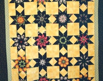 Throw Quilt/Bed Quilt/Black/Yellow/Star Quilt/Handmade/Kaleidoscope/Stack and Whack/ready to ship/Floral and Fruit/hanging quilt/Womens gift