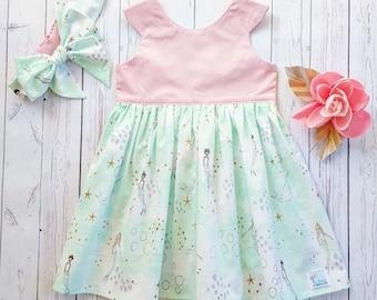 Mermaid dress-Girl's tea party dress-Mermaid tea party dress set with bow headwrap-Girl's dress set- mint and pink dress-headwrap