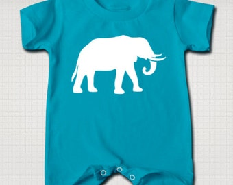 Elephant Baby T-Shirt/Romper Onesie (Blue and Red)