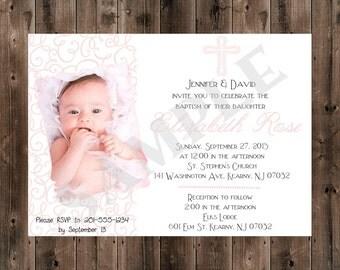 Printable - Digital - Baptism Invitation - Girl