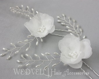 Flower Hair Pin for Wedding, with Pearls
