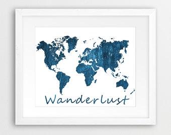 World Map Print, World Map Wall Art, World Map Navy Blue Texture, Wanderlust Blue Typography, Modern Home Office Decor, Travel Printable Art
