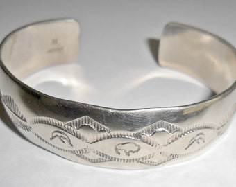 Fabulous vintage Southwestern style sterling silver cuff bracelet with stampwork signed H