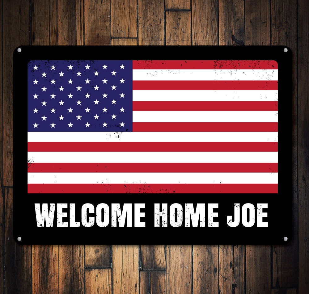 American flag sign custom welcome home sign personalized us for Patriotic welcome home decorations