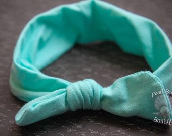Aqua knot baby headband, mint baby headband, turban baby headband, fall baby headband