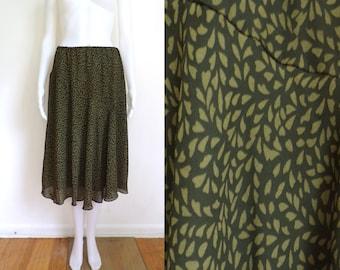 90s floral skirt size xl 16, green floral print flowy a-line skirt, 1990s lightweight chiffon elastic waist skirt, womens