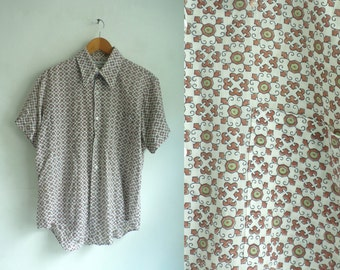 40%offAug15-17 mens geometric shirt size large, 60s mad men shirt, 1960s mens button down short sleeve shirt, brown green retro print