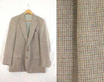 40%offJuly25-27 mens tweed blazer size 44L, wool blazer, taupe blue, 70s blazer, 1970s, plaid blazer, mens sports coat, mens jacket, man