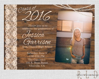 Graduation Invitation Announcement With Photo Wood Lace Pearls Digital Printable File