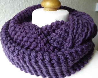 Chunky purple hand crocheted infinity scarf in a Merino wool and acrylic mix yarn