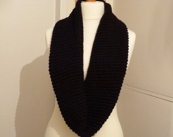 Chunky black hand crocheted infinity scarf