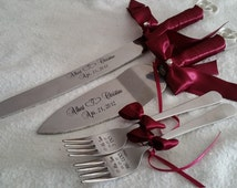Laser engraved personalized wedding interlocking hearts design cake knife-server and forks set,  Weddings, Anniversary, custom gift,