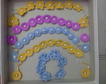 Colorful crochet bracelet-earring set