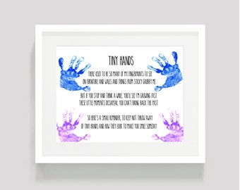 Tiny Hands kids print. Digital download. Print yourself. Instant download. Add your own hand prints. BABY SHOWER gift, new baby gift. memory