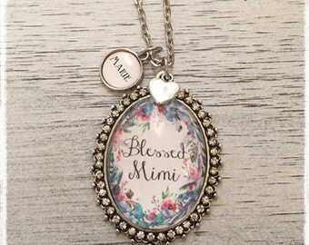 Custom oval glass pendant necklace with optional name charms customovalFLORAL