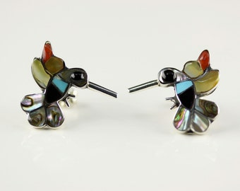 ative American Zuni Inlay .925 Sterling Silver Hummingbird Post Earrings Signed