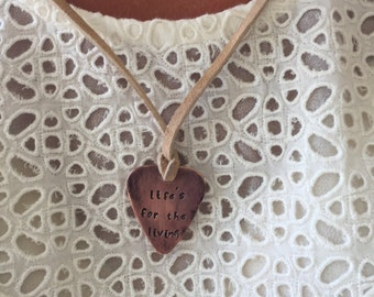 """Life's For The Living - Antique Distressed - Copper Guitar Pick Hand Stamped Necklace Natural Beige Leather Cord Adjustable 21"""" -See Options"""