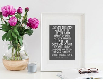Live With Intention Continue To Learn / Practice Wellness / Mary Anne Radmacher / Choose With No Regret / Inspirational Printable