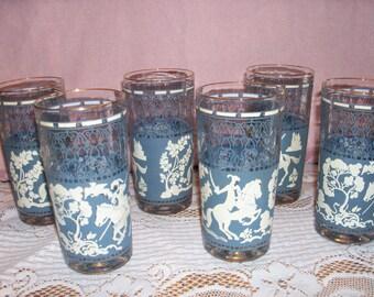 Vintage Jeanette Glass Hellenic Drinking Glass Set