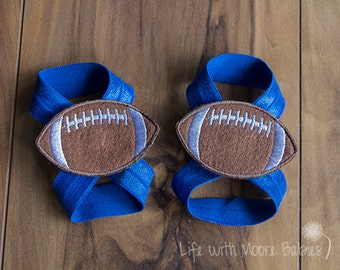 Baby Barefoot Sandal Football Patches, Interchangeable Barefoot Baby Sandal with Footballs, Blue Football Sandals, Baby Boy Barefoot Shoe