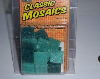 "Classic Mosaic Glass Tiles, 1"" square, 3oz, aqua mix"