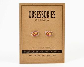 Pow Earrings Stud Earrings Pow Jewelry Pow Accessories Comic Book Earrings Book Jewelry Book Accessories Superhero Super Hero Book Gift Idea