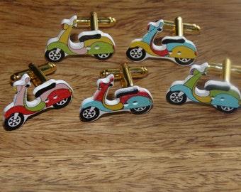 Wooden Scooters Cufflinks, Wooden Cufflink, wood cufflink, Motorbike Cufflinks, Scooters cufflinks, colourful cufflinks