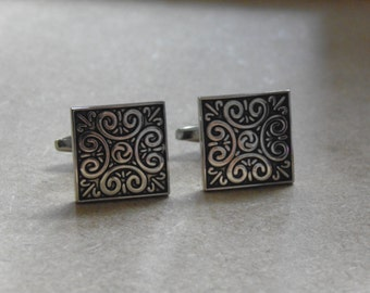 Celtic Cufflinks, Mens gifts, Silver cufflinks, Celtic Square cufflinks, Celtic cufflinks, Celtic square cufflinks