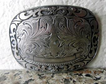 Silver metal belt buckle western style large