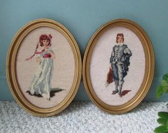 Framed Needlepoint Pictures,Vintage needlepoint,Gold framed art,Lady & Gent needlepoint,PetitPoint,Fiber art,finished needlepoint,stitchery