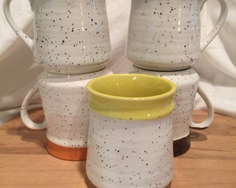 Vintage Speckled Mugs with Colored Interior - made in Japan