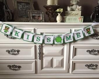 St. Patrick's Day Banner, Kiss Me Banner, Shamrock Banner, Leprechaun Bear Banner
