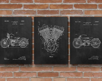 Harley Patents Set of 3 Prints, Harley Patent Prints, Engine Patents, Harley Biker Decor, Garage Decor, Patent Posters - S005