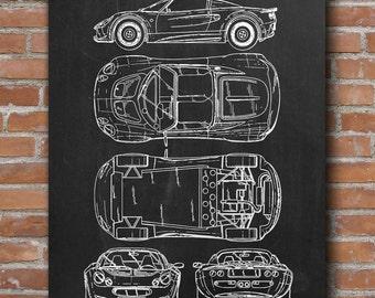 Lotus Elise 1995 Patent, Lotus Poster, Sport Car Patent, Blueprint, Home Decor - DA0475