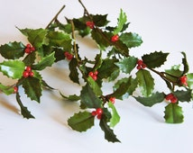 3 X Holly berry branch with leaves | berry twig | Artificial berry | floral Art | eternal flower | Spring Flower - Artificial berry branch