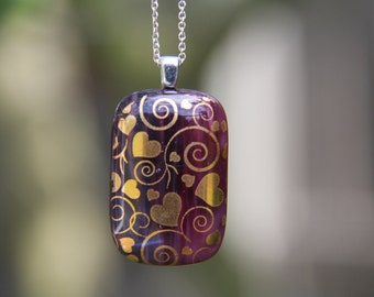 Gold heart swirl pendant. fused glass pendant, fused glass necklace