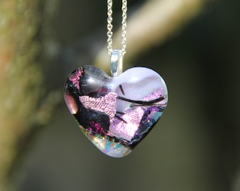 Heart dichroic glass pendant , multi-coloured dichroic pendant,  heart glass necklace,  fused glass necklace, fused glass pendant, birthday