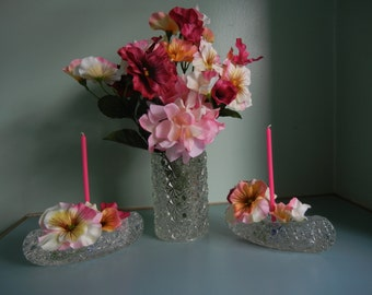 Daisy and Button Glass Canoe Candle Holders and Glass Pickle Castor Insert