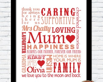 Personalised Memory Words Mother Mummy Mum Typography Word Art Print SPECIAL OCCASION GIFT