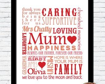 PERSONALISED Bespoke Mother Mummy Mum Typography Word Art Print GIFT