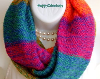 Knit Infinity Scarf. Multicolor Infinity Scarf.Pink,Orange,BlueTurquoise Winter Scarves.Fall Winter Scarf.Circle Cowl Chunky Knitted Scarf.